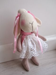 "vintage lace blush pink Tilda sheep Easter toy owieczka ""created by BB'"