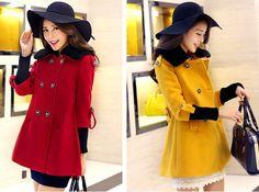 TC000863 Red long autumn fur collar woolen coat