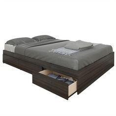 Nexera Atom 54 Reversible Storage Bed ($303) ❤ liked on Polyvore featuring home, furniture, beds, black, home storage furniture, door furniture, black door furniture, storage bedroom sets and black bedroom sets