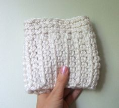 Warm Winter White Boot Toppers / Boot Cuffs by DottieQ