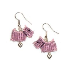 Pink Beaded SCOTTIE DOG Scottish Terrier sterling silver dangly earrings