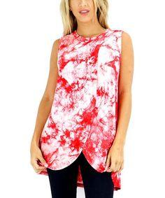 Coral Tie-Dye Tulip Tunic - Women #zulily #zulilyfinds