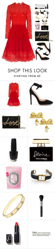 """Untitled #402"" by pinkandgoldsparkles ❤ liked on Polyvore featuring Valentino, Gianvito Rossi, Lanvin, Vintage, OPI, Dolce&Gabbana, Diptyque, Cartier, NARS Cosmetics and women's clothing"