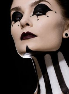 undefined | Jester | Clown | Black & White | Face paint | Makeup | Art | Halloween | Movies | Body art | Female | Woman | Beauty| Lips | Eyes | Color | Abstract | Fantasy | Midevil Court | Renaissance | Detail | Happy | Scary