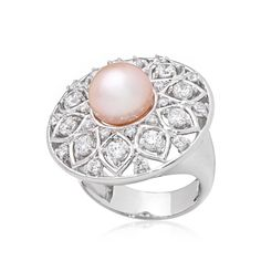 Signity Mosaic & Pearl Oval Dress Ring SS w PP