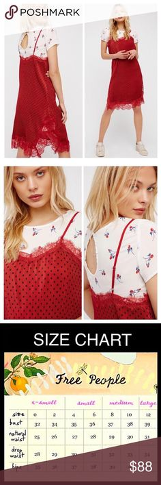 "FREE PEOPLE women's 2 Slip Combo Polka Dot Dress NEW WITH TAGS SIZING- Tagged Sizes 6 = S,  FREE PEOPLE Slip Dress  * 2-piece set, includes coordinating floral tee * Pleated detail & crochet floral lace trim * Allover print  * V-neck & thin adjustable straps  * Approx 42"" long  * Tee has a back keyhole w/button closure Fabric- dress-polyester, tee-rayon Color: Red combo Item# # lace embellished # T Shirt dress sheath slip cocktail vintage feel shift LBD Little Black Free People Dresses Midi"