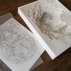 Sketch to Paper cut - Sculpture - Print the sulpture yourself - Sketch to Paper cut 3d Paper Art, Paper Artwork, Diy Paper, Paper Crafts, Paper Cutting Art, Kirigami, Up Book, Book Art, Minecraft Decoration