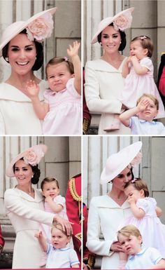 Catherine with George and Charlotte at the Trooping the Colour