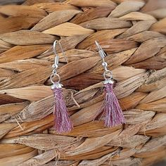 Handmade sterling silver earrings with metal pink tassel by OutOfTheCageCrafts