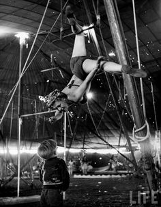 photograph by Nina Leen of Ringling Bros circus aerial performers rehearsing in 1949
