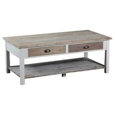 Rustic and chic, the Brighton Wood Floor Coffee Table will be the perfect accent to any room of your home. Neutral white and driftwood tones paired with antique brass drawer pulls are designed to complent your home décor. The table has two drawers and a lower shelf to provide storage and function. Square legs provide a sturdy base. Some assembly required.