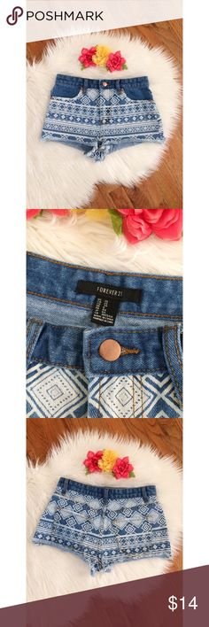 Forever 21 High Waisted Denim Shorts 🍍 Awesome pair of printed denim high waisted shorts from forever 21! Super flattering fit! Medium wash blue denim with a white Aztec print on the front and back. Super cute and easy to style for the warmer months! Great condition! Size 25 :)  Measurements: Waist- 13 inches -Rise- 10 inches  Hip- 18.5 inches flat across  Inseam- 2 inches Forever 21 Shorts Jean Shorts