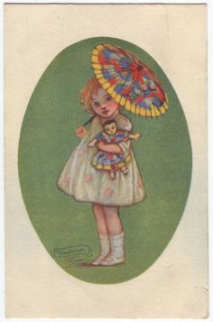 Antique italian art deco fashion postcard - Signed by italian designer Adelina Zandrino
