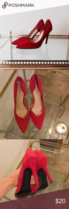 Guess Suede Pointed D'Orsay Heels Great condition. These shoes have been worn so there is some wear on the back of one of the shoes- very small scratches in picture 3. The bottom soles and points are in great condition. Heels is about 3.5 inches high. Questions and offers are welcome Guess Shoes Heels