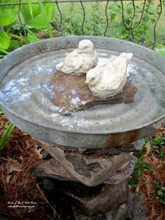 stacked stone bird bath
