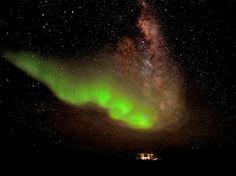 天空のランプ、南極光と天の川
