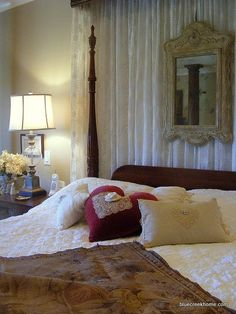 DIY aged glass on a vintage mirror   BCH Original pillows -