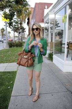 """Living Green: Elizabeth and James Sunglasses, J.Crew Shirt, Zara Blazer, Nixon Watch, Mulberry Bag, Madewell Shorts and Shoes, OPI """"A Roll in the Hague"""" Nail Polish"""