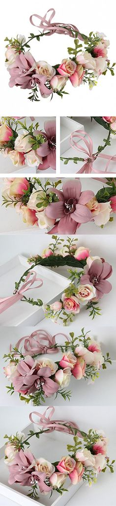 YUNF Flower Wreath Headband Floral Crown Garland Halo With Floral Wrist Band Set for Wedding Festivals and Maternity (X Pink)