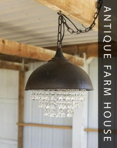 Farmhouse pendant light with a tinge of bling. Love.