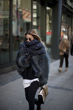 bundle up! oversized scarf, fur coat, street style                                                                                                                                                     More