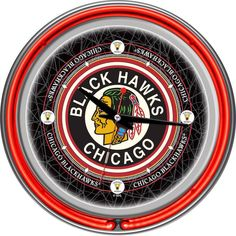704a4530f4c NHL Chicago Blackhawks Chrome Double-Ring Neon Wall Clock Nhl Chicago