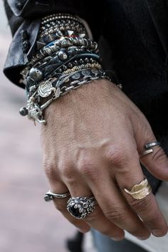 Mens silver chain and beaded bracelets with rings