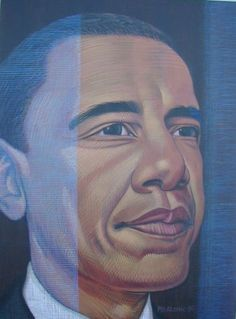 A 3' X 4' Acrylic Painting of our commander n' Chief. Purchased by Mr. jerry Liss of Pisanello Pizza Fame (Bowling Green Ohio)  Call if you'd like a portrait done....419-699-7394  / Mark @ Mr. Atomic Studios  /1700 n. reynolds /toledo ohio