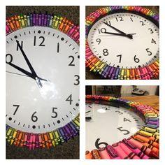 Classroom crayon clock                                                                                                                                                                                 More