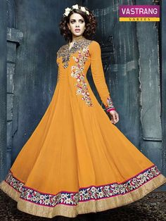 Gorgeous yellow anarkali salwaar kameez