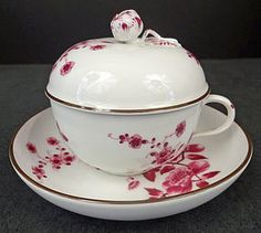1870's Antique KPM Royal Berlin Covered Tea Cup  Saucer. By Judith Ravnitzky, trocadero.com