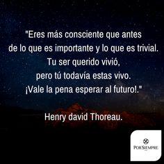 """""""Eres más consciente que antes de lo que es importante y lo que es trivial. Tu ser querido vivió, pero tú todavía estas vivo. ¡Vale la pena esperar al futuro!."""" Henry david Thoreau. http://www.porsiempre.es/ #frases #duelo #joyas #cenizas"""