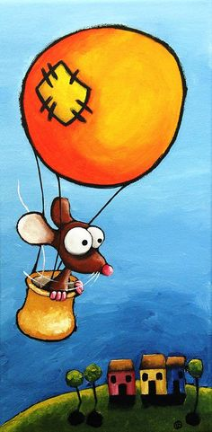 The Orange Balloon Painting  - The Orange Balloon Fine Art Print