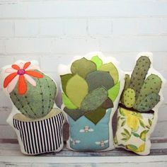 Cactus cushion Trio from Bustle & Sew. These cushions are great fun to make and look very effective scattered on your sofa. They use raw edge applique techniques with a few hand embroidered details on two of the designs to give them that extra special finishing touch. The perfect way to bring the botanical trend inside! | cactus cushion | sew a cactus | botanical | tropical | how to sew a cushion | cushion pattern | handmade cactus