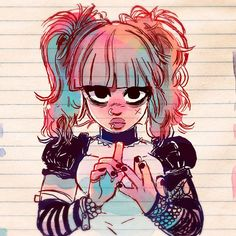 Goth GirlCongrats to suerelhom for winning the 50K Contest I held last week! #art #fashion #drawing #sketch #goth #ink #watercolor #manga