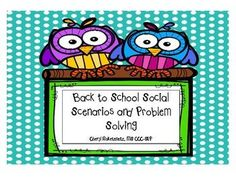This therapy activity focuses on social interactions your students may experience during the school day. It can be used to prepare students for experiences they may encounter or to discuss similar situations they have faced. It targets social awareness, problem solving and the ability to develop multiple solutions.Includes: 28 color School Days, Back To School, Calm Classroom, Social Awareness, Therapy Activities, Social Skills, Problem Solving, Students, Learning