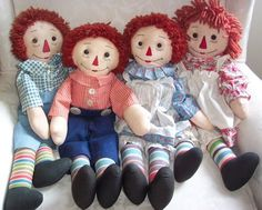 Early Handmade Raggedy Ann and Andy Dolls