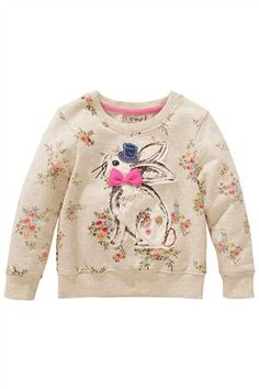 Oatmeal Ditsy Print Sweat With Appliqué Bunny