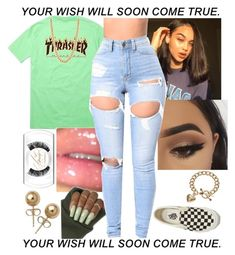 """""""Thrasher Green """" by toowellme ❤ liked on Polyvore featuring beauty, Bling Jewelry, Juicy Couture and Vans"""