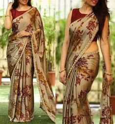 PV 3527 : Brown FloralPrice : Rs fancy and fantastic in this brown coloured floral sari finished with cut work pearl borderUnstitched blouse piece - Wine colour raw silk blouse piece as shown in the pictureFor Order 15 October 2017 A Road MLA Colony Simple Sarees, Trendy Sarees, Stylish Sarees, Fancy Sarees, Party Wear Sarees, Sari Design, Sari Blouse Designs, Saree Blouse Patterns, Saree Floral