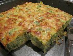 3 words: Broccoli Cornbread.  I originally got this recipe from my Grandma but this one is very similar.  There is no need to pre-cook the onions.  Also, I make mine in a 9x13 because otherwise I can't see how it would ever cook through in 25-35 mins.
