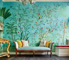 Amazonia design chinoiserie wallpaper in vivid special colorway which is hand painted on blue silk wallpaper. Competitive price with same high quality as deGournay from Yrmural Studio at www.yrmural.com