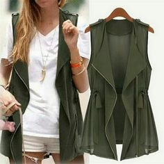 Army Green cardigan/blouse Women Blouse Chiffon Army Green Zipper Sleeveless Tops Kardigan Clothing Outerwear Vest Light material Super cute for any season!  Wear it with heels or combat boots. This item is very versatile!  Black Waterproof eyeliner is included with purchase :)  Only 2 Left and also posted on mercari so don't miss your opportunity!  Bundle and save!  Ship within 24 hrs. Tops Blouses