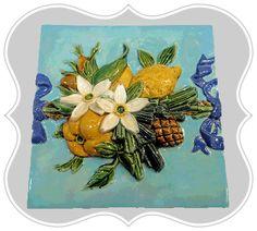 Minton Majolica High Relief Fruits Tile Art Nouveau Tiles, Antique Tiles, Oranges And Lemons, Fireplace Surrounds, Earthenware, Victorian Era, International Society, Colours, Sculpture