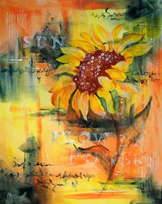 Abstract Acrylic Painting of Large Sunflower - Martha Kisling Original Painting Watercolor Paintings, Original Paintings, Watercolour Flowers, Painting Flowers, Acrylic Paintings, Vincent Van Gogh, Sunflower Art, Sunflower Paintings, Sunflower Garden