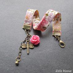 Bracelet tissu Rosa rosa rosam  Une création Zolis Bizoux...