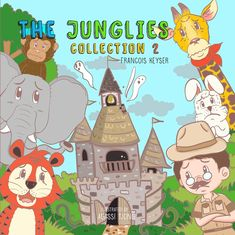 """""""The Junglies Collection 2"""" children's book cover.  Book includes two stories, a rucksack and a unique set of dominoes with fun animal facts as well.  You can now buy the book with a hand puppet as well. Choose from a tiger, giraffe, monkey, elephant or rabbit."""