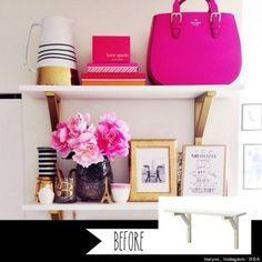 For shelves above desk