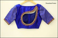 New model blouse back neck designs - The handmade craft New Saree Blouse Designs, Blouse Designs Catalogue, Simple Blouse Designs, Stylish Blouse Design, Blouse Back Neck Designs, Saris, Designer Blouse Patterns, Blouse Models, Anarkali