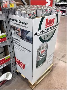 Quarter Pallet Corrugated Oatey PVC Cement Display – Fixtures Close Up Point Of Purchase, Cement, Pallet, Hooks, Retail, Display, Log Projects, Floor Space, Shed Base